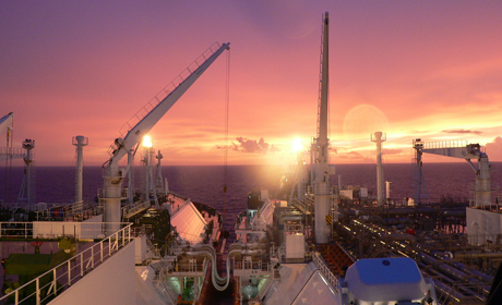 LNG deck at sunset